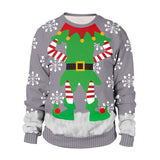 Mens Gray Pullover Sweatshirt 3D Graphic Printing Merry Christmas Pattern