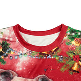 Mens Red Pullover Sweatshirt 3D Graphic Printing Merry Christmas Dog Cat Pattern
