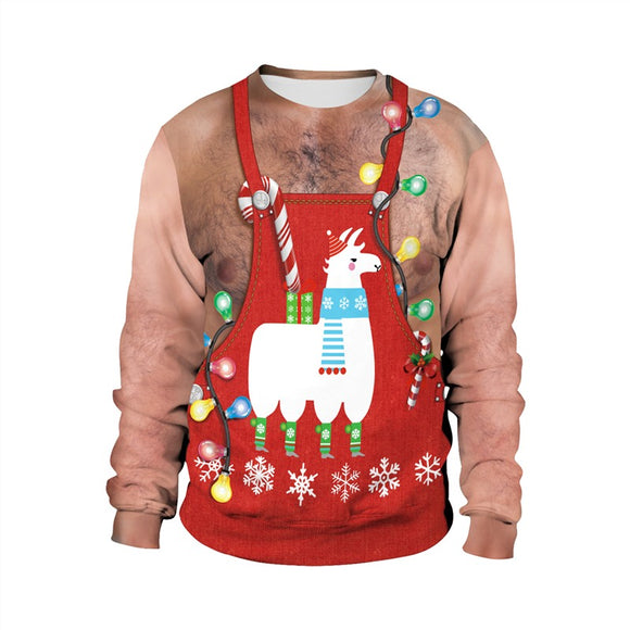 Mens Pullover Sweatshirt 3D Graphic Printing Merry Christmas Chest Hair Pattern