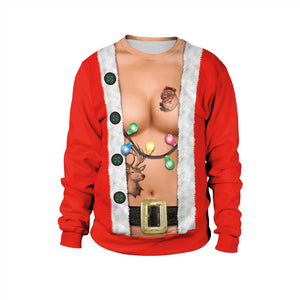 Womens Red Pullover Sweatshirt 3D Graphic Printing Merry Christmas Light Pattern