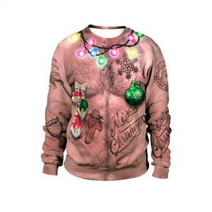 Mens Pullover Sweatshirt 3D Graphic Printing Merry Christmas Funny Chest Hair Pattern