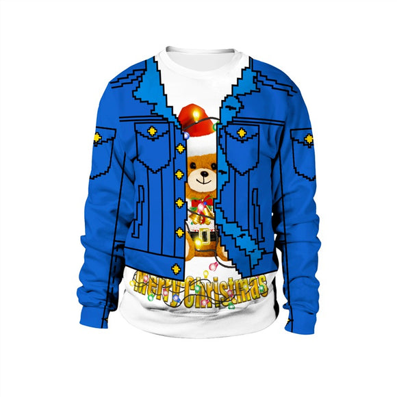 Womens Blue Pullover Sweatshirt 3D Graphic 2019 Merry Christmas Bear Pattern