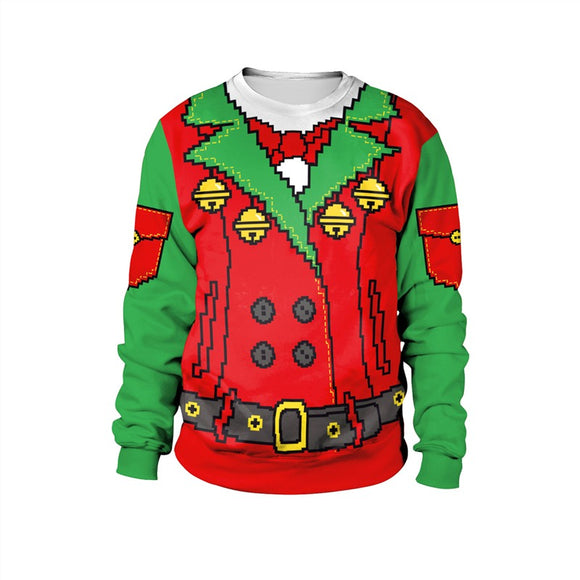 Womens Green Red Pullover Sweatshirt 3D Graphic 2019 Merry Christmas Pattern