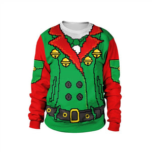 Womens Red Green Pullover Sweatshirt 3D Graphic 2019 Merry Christmas Pattern
