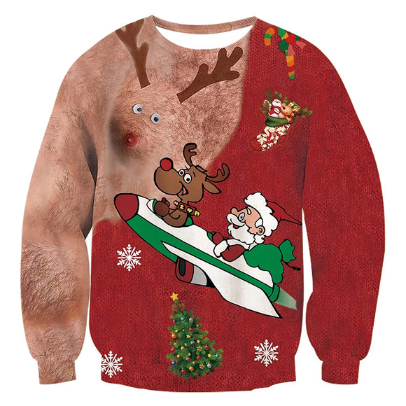 Hair Deer Graphic Long Sleeve Ugly Christmas Pullover