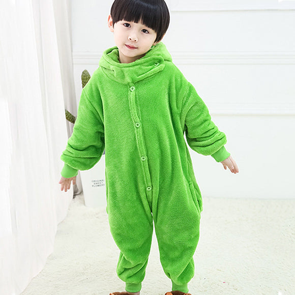 Child Romper Green Costume for Kids Onesie Pajamas for Girls Boys