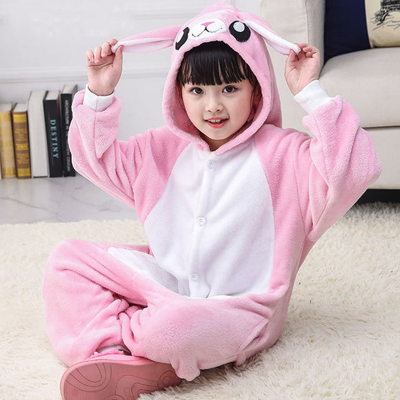 Child Romper Pink Rabbit Costume for Kids Onesie Pajamas for Girls Boys