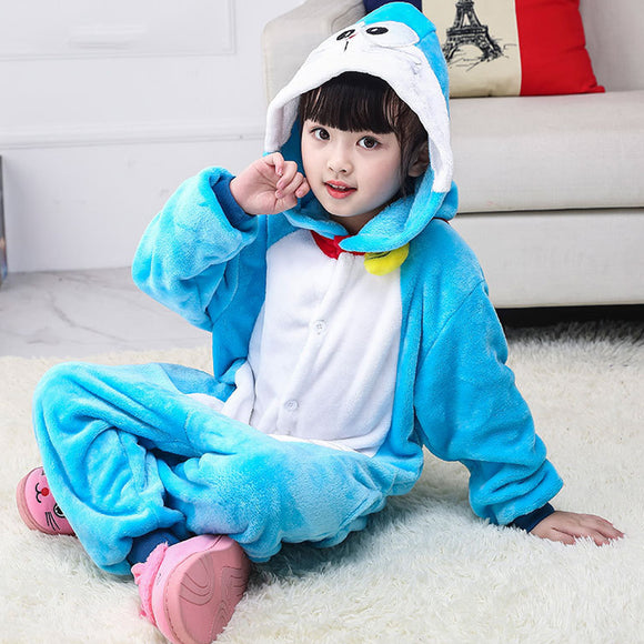 Child Romper Blue Robot Cat Costume for Kids Onesie Pajamas for Girls Boys