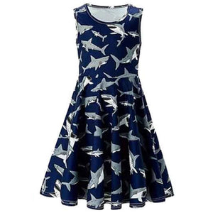 Toddler Girls Summer Dress Shark Sleeveless Casual Dress