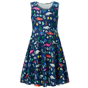 RAISEVERN Toddler Girls Summer Dress Dinosaur Sleeveless Casual Dress