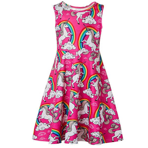 Toddler Girls Summer Dress Unicorn Rainbow Sleeveless Casual Dress