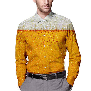 Mens Long Sleeve Shirt Beer Printing Pattern
