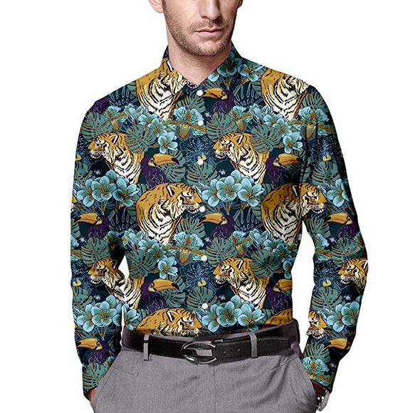 Men's Floral Tiger Printed Long Sleeve Shirt