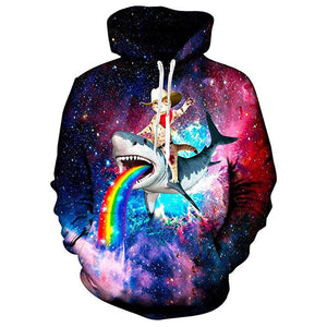 Mens Hoodies Cat Ride Shark 3D Printing Hooded