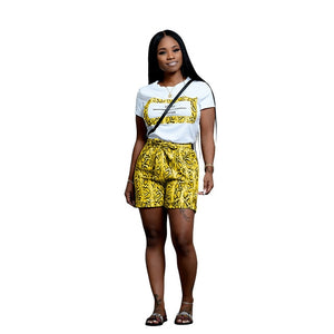 Women Two Pieces Set Snake Skin Pattern Tee and Shorts