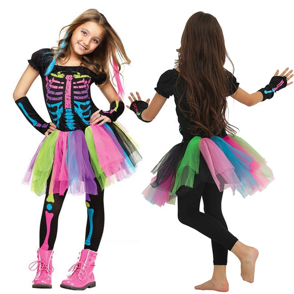 Halloween Costume for Children Rocker Skeleton Dress for Girls