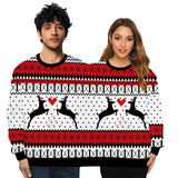 Couple Wear Lovers Men Women Connected Hoodies Christmas Deer Pattern Sweatshirt
