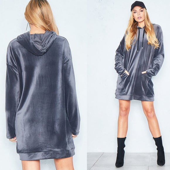 Silver Gray Fashion Women's Casual Style Hooded Hoodie Long Sleeve Sweatshirts Pocket Streetwear Tunic Sweater Dress