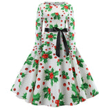 Women's Long Sleeves Floral Print Christmas Dresses