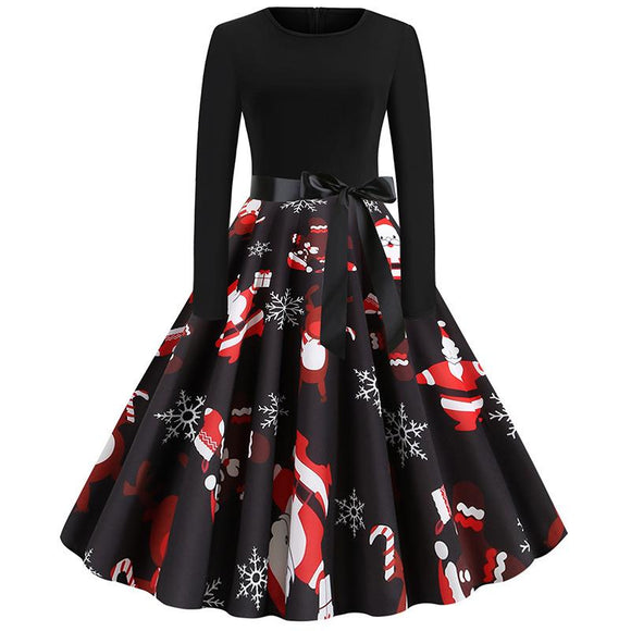 Womens Autumn Winter Snowflakes Print Christmas Dress