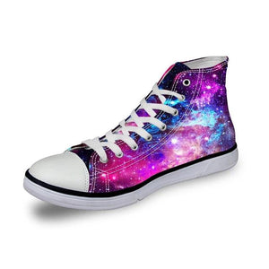 Galaxy Space Star Printed High Top Mens Shoes