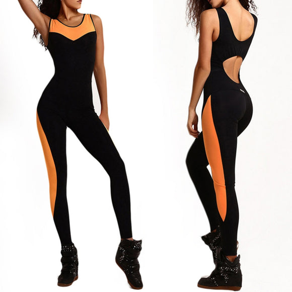 Women Fitness Black Tracksuit Yoga Gym One Piece Jumpsuits