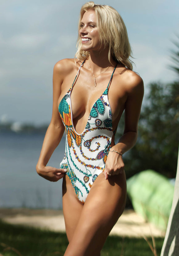 Santorini Plunge One-Piece Bathing Suit in Teal Jungle Print