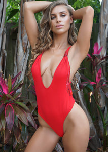01d0a0e90c590 Tulum Plunge One-Piece Thong in Candy Apple Red with Rose Mesh Inserts –  Swim6