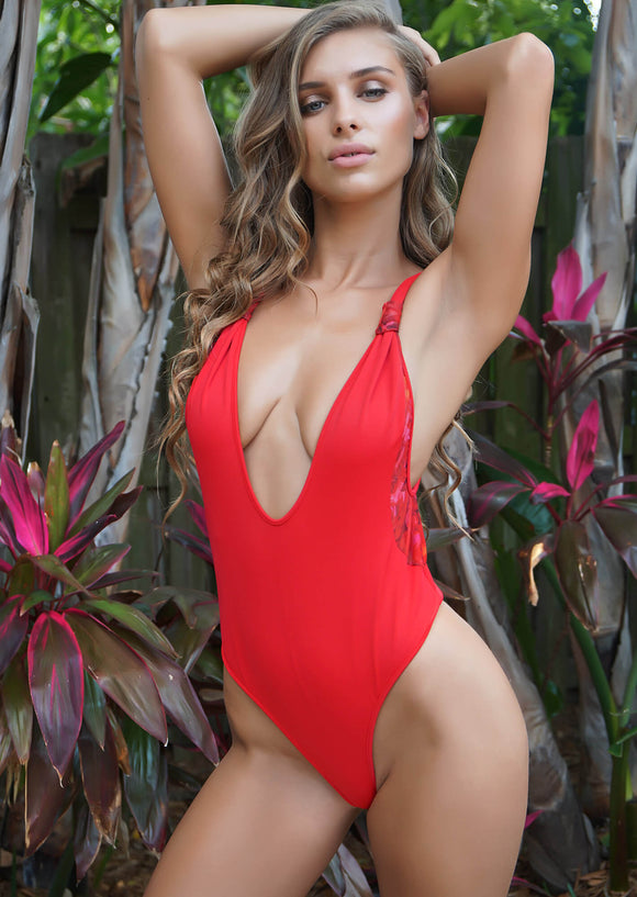 Tulum Plunge One-Piece Thong in Candy Apple Red with Rose Mesh Inserts