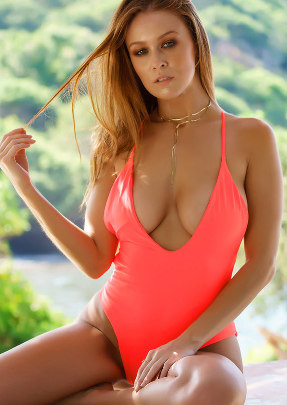 Strappy Plunge One-Piece Swimwear in Neon Orange