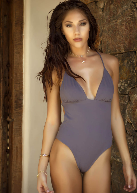Ruched Cup Brazilian Coverage One-Piece Swimwear in Grey Washed Purple