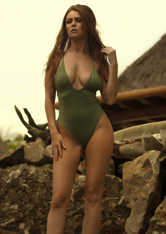Santorini Plunge One-Piece Swimsuit in Army Green