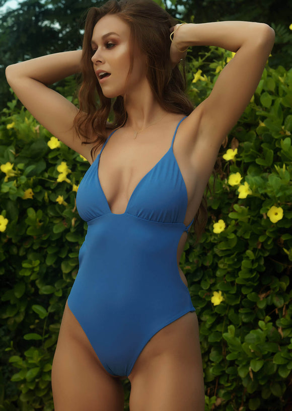 Monaco Ruched Cup One-Piece Bathing Suit in Periwinkle Blue