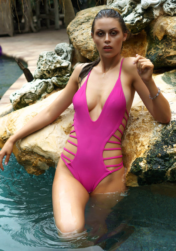 Strappy Plunge One-Piece Swimwear in Fushia Pink