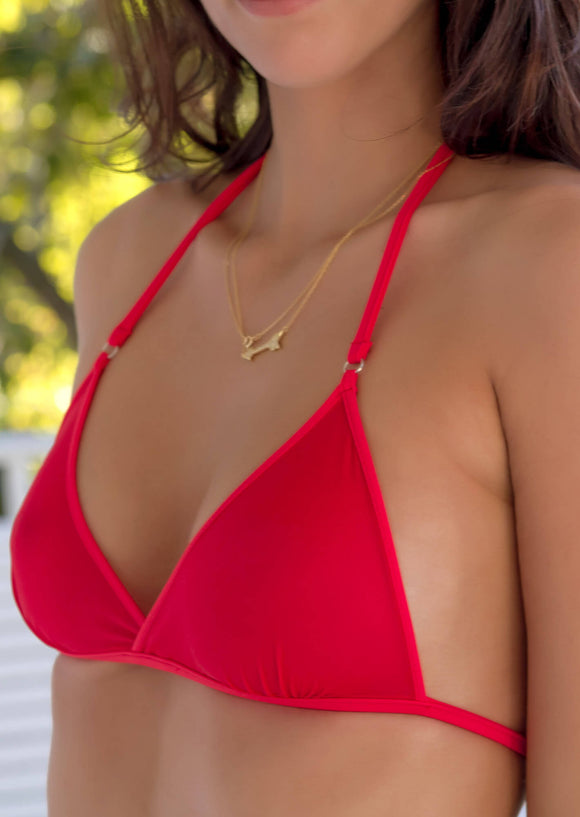 Classic Halter Bralette in Red