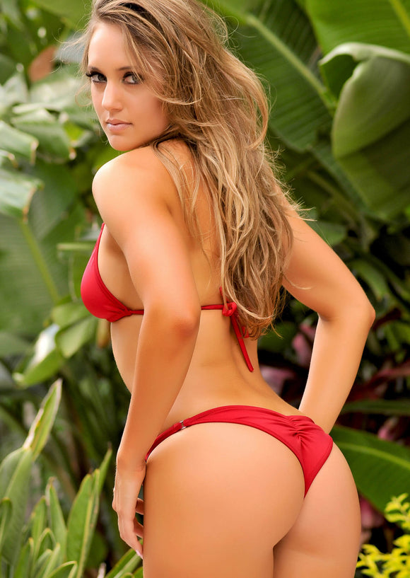 Brazilian Half Pucker Bikini Bottom in Dark Red with Nickel Trim