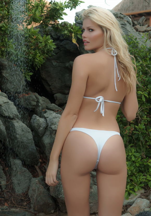 Seamless Cheeky Thong Bikini Bottom in White Matte