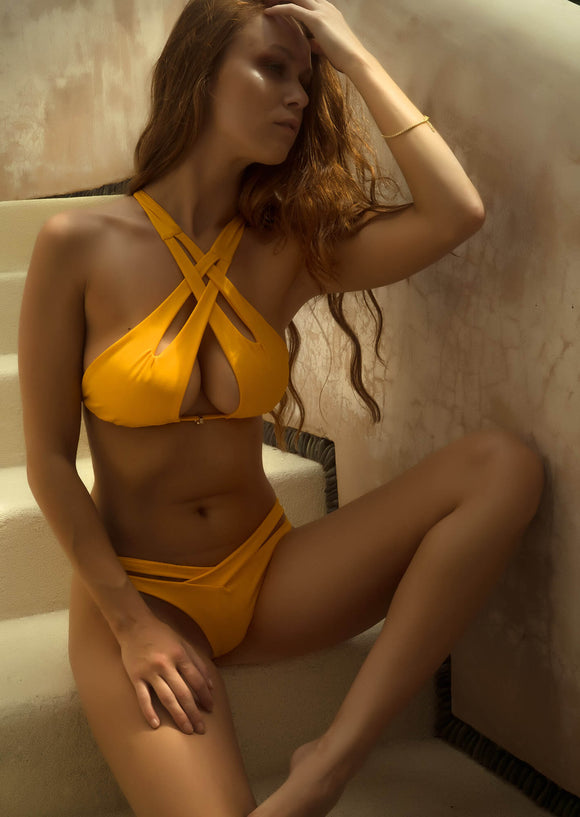 Cut Out Halter Bikini Top in Golden Yellow