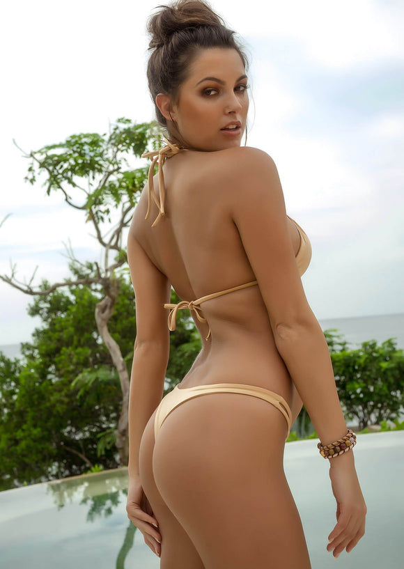 Seamless Cheeky Thong Bikini Bottom in Tan