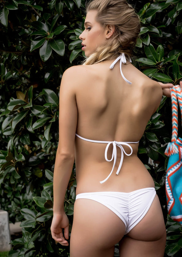 Brazilian Full Pucker II Bikini Bottom in White Matte