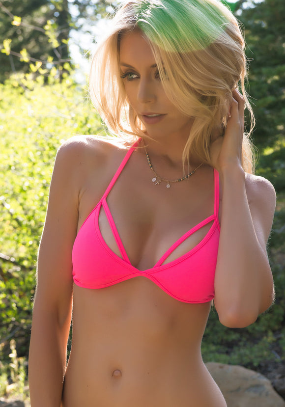 Triangle Bra Cut-Out Bikini Top in Pink