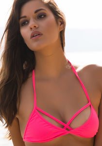 Triangle Bra Cross-Strap Bikini Top in Pink