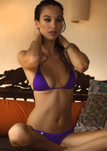 String Triangle Bikini Top in Bright Violet