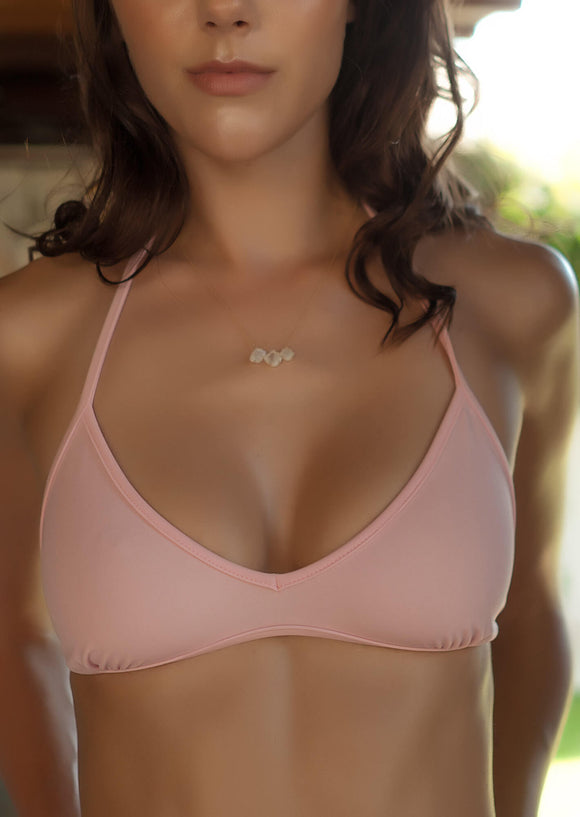 Triangle Bralette Bikini Top in Light Pink