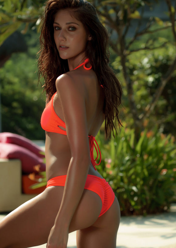 Surf Shortie Bikini Bottom in Neon Orange