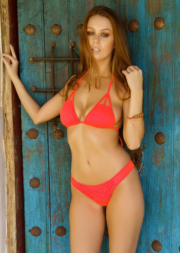 Cut-Out Triangle Bikini Top in Neon Orange