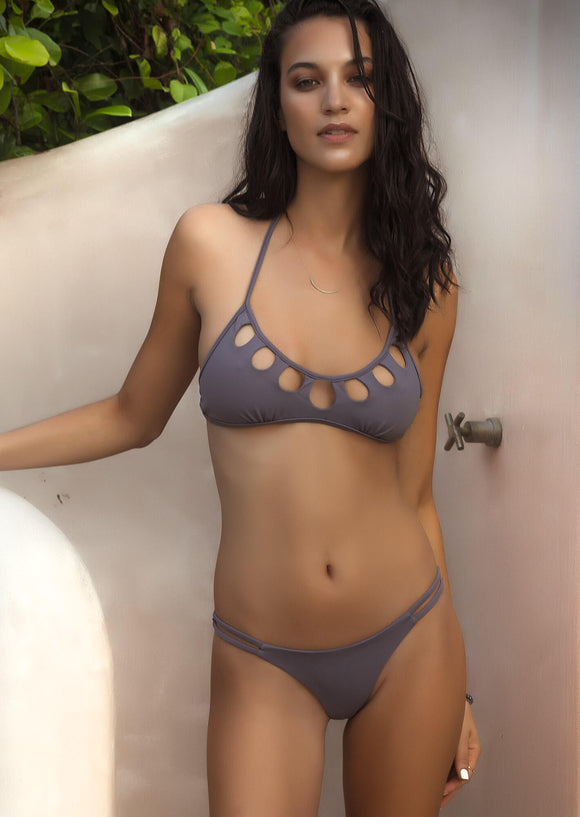 Peek-A-Boo Bralette Bikini Top in Grey Washed Purple