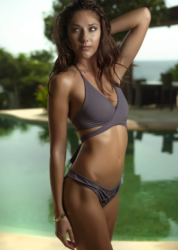 Wrap Top Bikini Separate in Grey Washed Purple