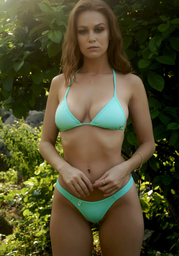 String Triangle Bikini Top in Light Mint