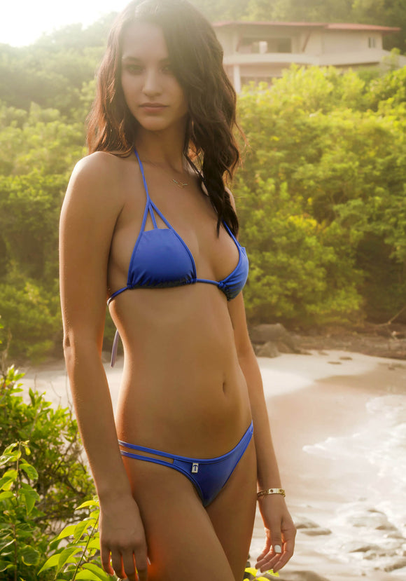 Cutout Triangle Bikini Top in Periwinkle Blue
